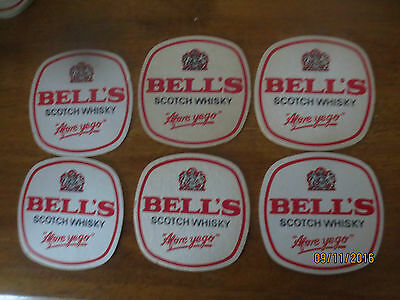 6  X  BELL,S  SCOTCH WHISKY 1980,s Issue collectable COASTERS 2 sided