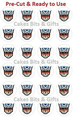 24 x TRANSFORMERS AUTOBOT Edible Wafer Cupcake Cake Toppers PRECUT Ready to Use