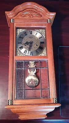 D&A Pendulum Wall Clock Wind up ~ with key and frosted lead glass window
