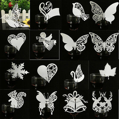 50pcs Luxury Wedding Name Place Cards For Wine Glass Laser Cut Pearlescent Card