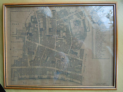 Very Old Map Of London - Tower Street - River Thames - Central London - Superb!