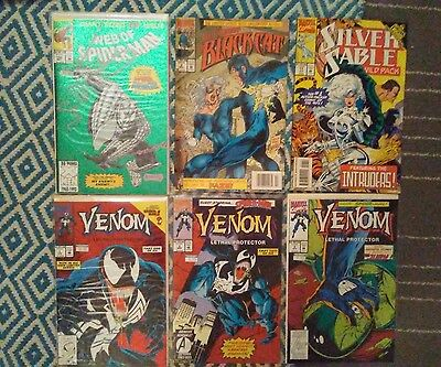 Spider-Man Comic Book Lot Venom Black Cat Silver Sable Marvel Comics Collection