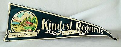 """1930's-40's Camp Van Dorn, Centreville, Mississippi Small 11 1/2"""" Cloth Pennant"""