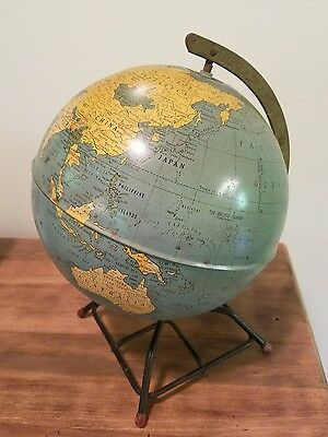 Vintage- Old School Globe on stand. 8 inch,  Replogle Globes, dents, character