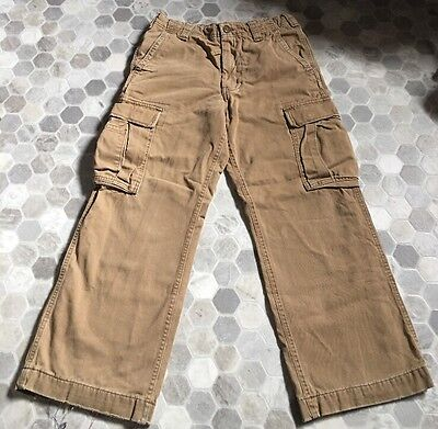 Abercrombie Kids Size 14 Cargo Type Plaid Flannel Lined Brown Khaki Pants