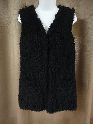 Mao` City Black Faux Fur Fully Lined Vest With Pockets Sz M Nwot