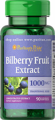 Puritan's Pride Bilberry Fruit Extract 1000 mg 90 Softgels Improves Eye Vision