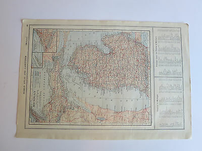 Antique Hundred Year Old Atlas Map Of Michigan & Minnesota, Printed In 1914