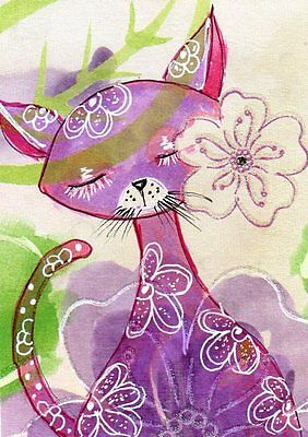 Aceo Original Drawing Pink Cat flower Mixed Media Whimsical Art by FAiRyPiGGleS