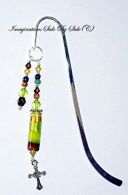 Silver Christian Multi-Color Lampwork Crystal Handmade Bible Bookmark for Books