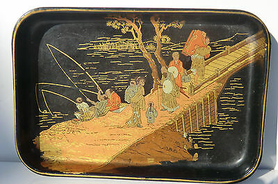 ANTIQUE 19th Century Chinoiserie Decorated Papier Mache Trinket Pin Dish