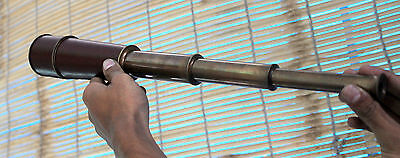 Antique Brass Leather Telescope Maritime Collectible Handmade Spyglass Scope 18""