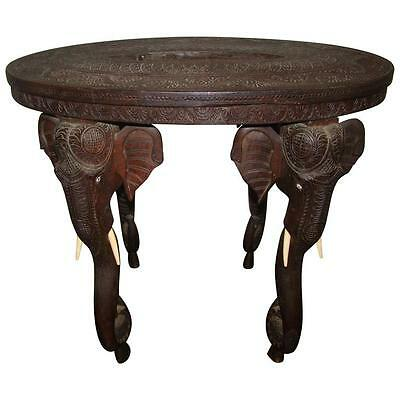 Anglo Raj Indian Hand Carved Rosewood Table with Elephant Head Trunk legs