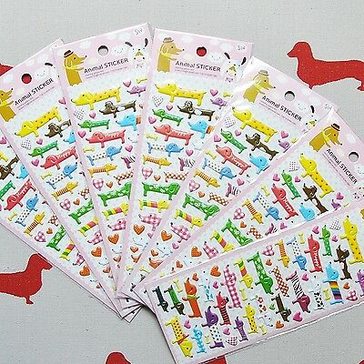 Dachshund Sausage Dog Puffy Stickers For Art Craft Scrapbooking Colourful Cute
