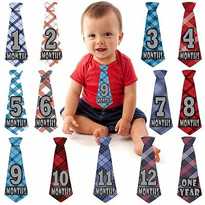 Baby Boy Monthly Necktie Milestone Stickers NEW ties tie Shower gift Months 1-12