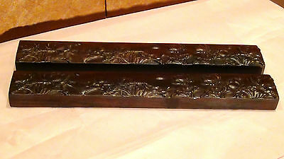 Pair Antique 19C Chinese Rosewood Carved Lotus Flowers,foliage&pods Paperweights