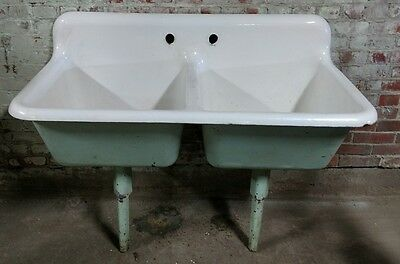 Reclaimed Vintage Antique Cast Iron Kohler Double Basin Sink. As Found. hospital