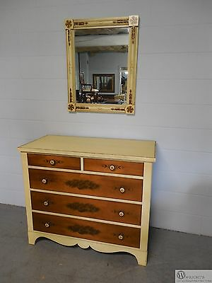 L.Hitchcock Ivory Paint Decorated Chest with Matching Mirror