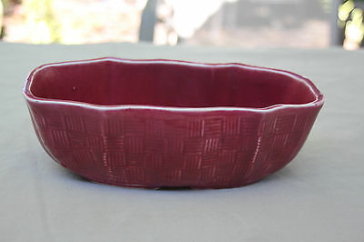 Shawnee Pottery? ~ USA 150 ~ Red Basket Weave Oblong With Basketweave