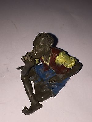 Cold Painted Bronze Gentleman Smoking A Pipe