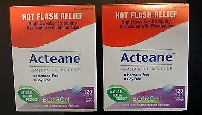 2 Boiron Acteane Homeopathic Medicine 240 Tablets (Hot Flash Relief) Exp.03/2021