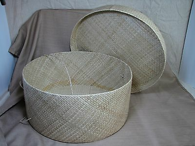 "Nicely Made Large Woven Via Motif Hat Box 16"" x 8"""