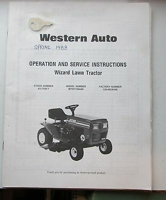 Wizard Riding Mowers Operating & Service Instructions