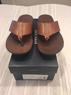 Men's Cole Haan Flip Flops Brown Leather Size 11 Nwbox Woodbury