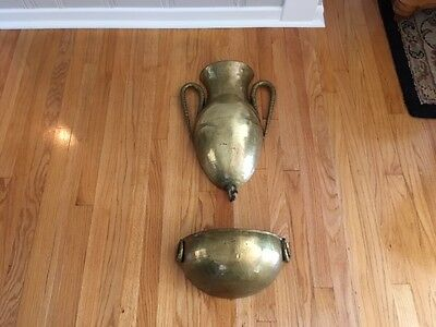 Mid Century Modern Hammered Brass wall decor Water Cistern with planter