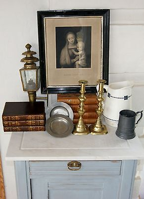 MIXED ANTIQUES decorator lot -cupboard -1700c pewter -candlesticks -print -etc.