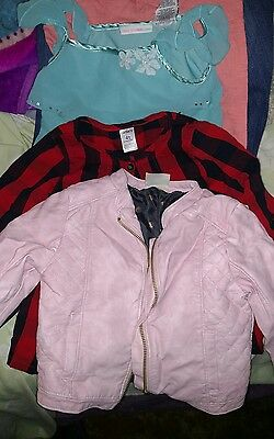 Large lot of gently used 4T girls clothes including a pink leather like jacket