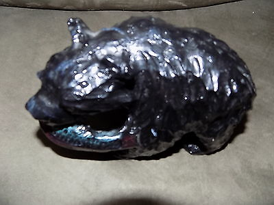Hand Carved Resin? Wooden Black Bear W/Fish Statue Collectible