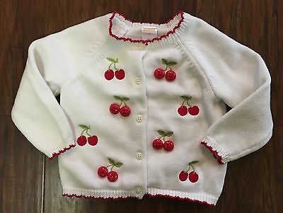 Gymboree 2T Cherry Cute Cardigan Sweater Embroidered Buttons Scallop Hem EUC