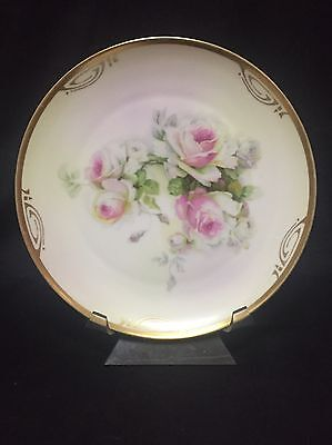 ZS & Co. Bavaria Cabinet Plate Pink Roses Gold Trim Royal Munich