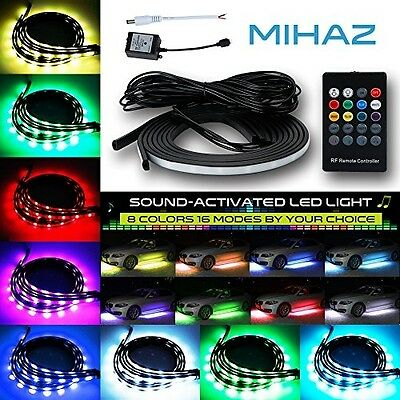 Mihaz RGBW RGB + White LED Under Car Glow Underbody System Neon Lights Kit And
