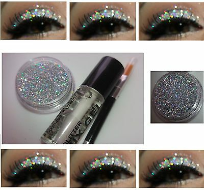 Holographic Silver Disco Glitter Pot Set Eyeshadow Stargazer Fix Gel Kit Eyes