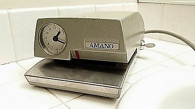 Amano 4246 Time Stamp Punch Clock W/Key Vintage Works