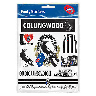 Collingwood Magpies AFL Sticker Stickers Sheet **AFL OFFICIAL MERCHANDISE**