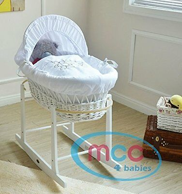 MCC Full Set Deluxe Palm Wicker Moses Basket With Dressing & Rocking Stand