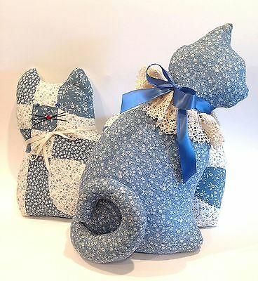 Set of 2 Vintage Handmade Blue & Off White Country Kitty Cat Pillows