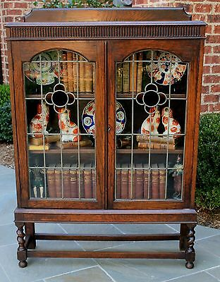 Antique English Oak ART DECO Stained Glass BARLEY TWIST Bookcase Display Cabinet