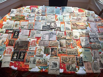 Vintage Lot 100+ Antique 1880s Advertising Trade Cards All Shapes And Sizes Look