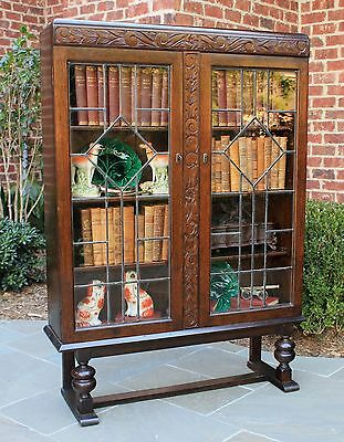Antique English Oak ART DECO Leaded Glass Bookcase Display Cabinet Shelves Tudor