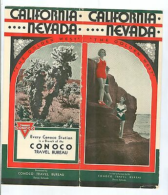 California & Nevada Brochure by Conoco Travel Bureau Advertisement 1930's