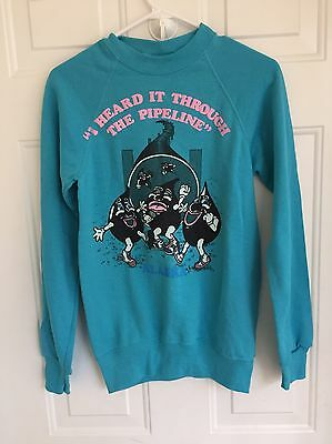 Vtg 80s Blue Alaska Oil Pipeline Cartoon Crewneck Sweater Sz Small Novelty Tacky
