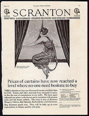 Woman at Window - Coles Phillips - Scranton Curtain Ad  1921 Ladies Home Journal