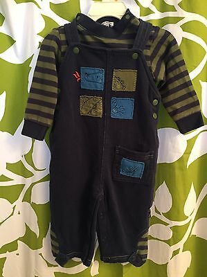Le Top Baby Boys 2 Piece Outfit Overalls Striped Shirt Dragon Size 12 Months