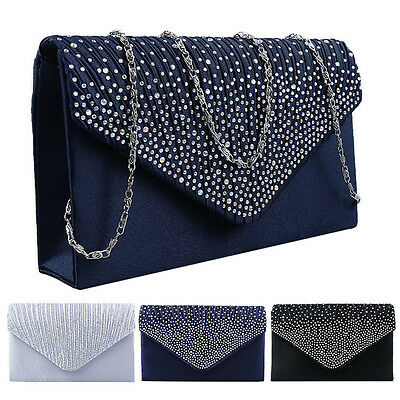 New Womens Satin Clutch Shoulder Bag Evening Ladies Fashion Wedding Prom Handbag