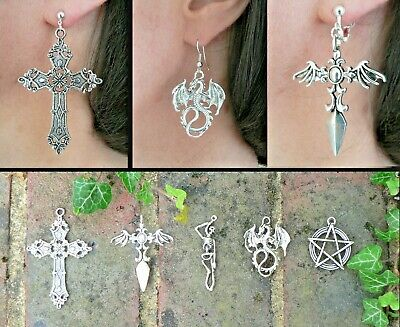 Silver Earrings Pentacle Skeleton Dragon Pentagram Cross Dagger Goth Wicca Gift