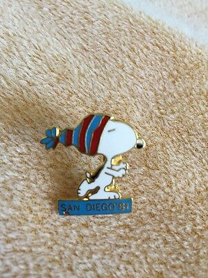 """Snoopy San Diego '81 Pin Unique Vintage Aviva About 1"""" Pin"""